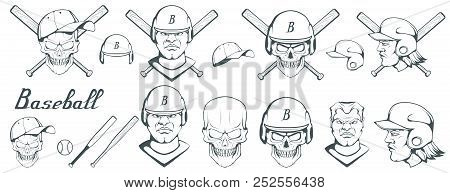 Set Of Baseball Player Design Elements. Hand Drawn Baseball Ball. Cartoon Baseball Helmet. Hand Draw