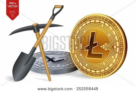 Litecoin Mining Concept. 3d Isometric Physical Bit Coin With Pickaxe And Shovel. Digital Currency. C