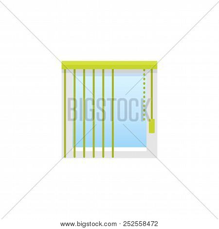 Vertical Green Blind. Flat Icon Of Window Shade & Jalousie. Front View. Isolated Object On White Bac