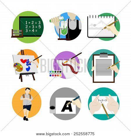 Back To School Scenery Illustration Design Template Set