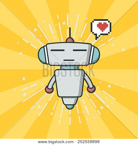 Bot Icon On Yellow Rays Background. Chatbot Icon. Cute Outline Robot. Vector Flat Line Cartoon Illus