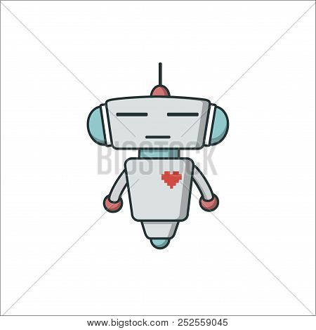 Bot Icon With Heart. Chatbot Icon. Cute Outline Robot. Vector Flat Line Cartoon Illustration Isolate