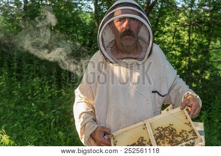 Outdoor Portrait Of Ukrainian Peasant Working In Own Bee Yard