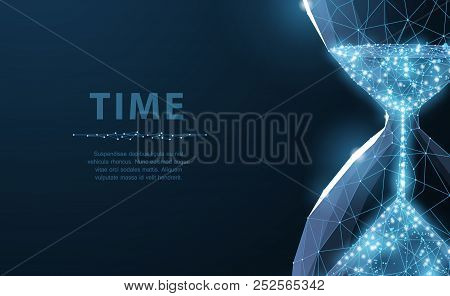 Sandglass. Low Poly Wireframe Sandglass Looks Like Constellation On Dark Blue Background With Dots A