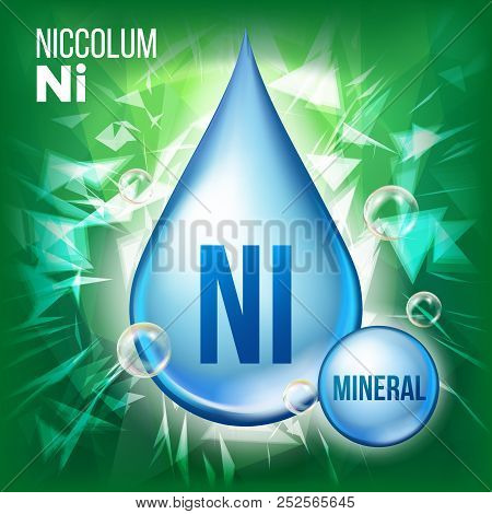 Ni Niccolum Vector. Mineral Blue Drop Icon. Vitamin Liquid Droplet Icon. Substance For Beauty, Cosme