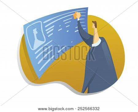 Right To Be Forgotten In The Internet. A Man Erases Information About Himself. Concept Vector Illust