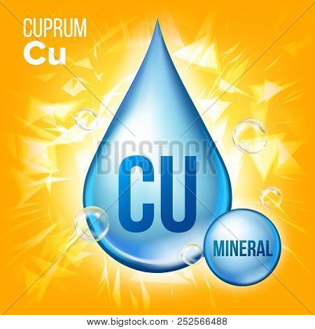 Cu Cuprum Vector. Mineral Blue Drop Icon. Vitamin Liquid Droplet Icon. Substance For Beauty, Cosmeti