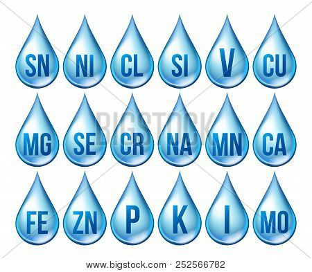 Mineral Icons Set Vector. Mineral Blue Drop Icon. Medicine Droplet. Substance. 3d Vitamin Complex Wi