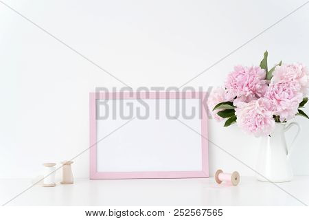 Pink Landscape Frame Mock Up With A Pink Peonies And Silk Ribbons Beside The Frame, Overlay Your Quo