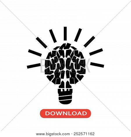 Light Brain Vector Icon Flat Style Illustration For Web, Mobile, Logo, Application And Graphic Desig