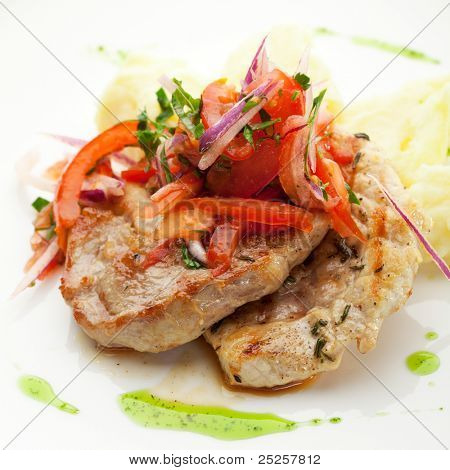 Pork Medallions with Mushed Potato and Salsa Sauce poster