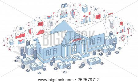 Banking Theme Cartoon, Bank Building With Dollars And Coin Stack Isolated Over White Background. 3d