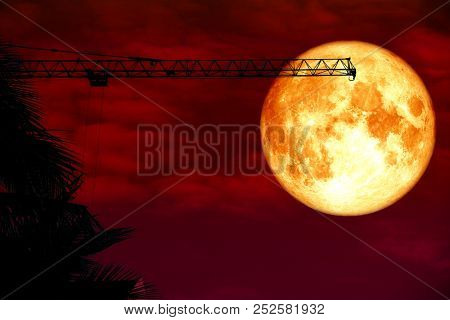 Full Blood Moon Back Over Silhouette Crane Red Cloud
