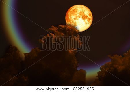Full Blood Moon Back Over Silhouette Dark Red Cloud