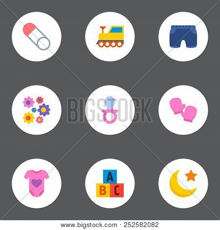 Set of baby icons flat style symbols with education toys, brooch, nip and other icons for your web mobile app logo design. poster