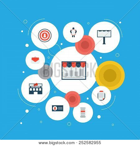 Set Of Marketing Icons Flat Style Symbols With Market, Mobile Marketing, Target And Other Icons For