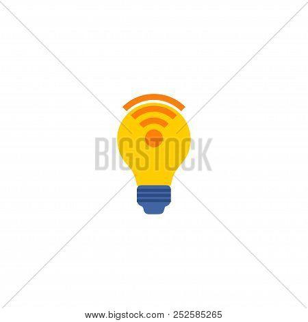 Lightbulb Wifi Icon Flat Element.  Illustration Of Lightbulb Wifi Icon Flat Isolated On Clean Backgr