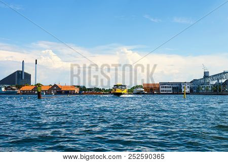 Copenhagen, Denmark - July 13, 2018. Copenhagen Water Transport Beautiful Architecture Of Copenhagen
