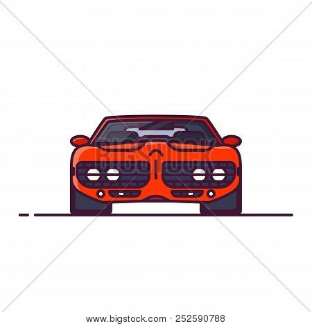 Front View Of Red Muscle Sport Car With Muscle Engine. Line Style Vector Illustration. Vehicle And T