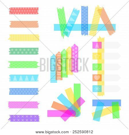 Set Sweet Sticky Colored Adhesive Transparent Washi Tapes, Stickers, And Bookmarks Isolated On A Whi