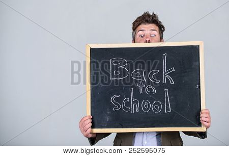 Are You Ready To Study. Teacher Advertises Back To Studying, Begin School Year. Teacher Bearded Man