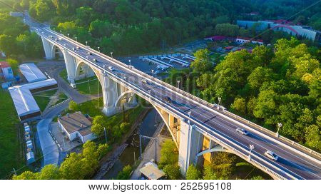 Drone View Of The Matsesta Viaduct On The Background Of Mountainsides With Dense Forest In Sunny Sum