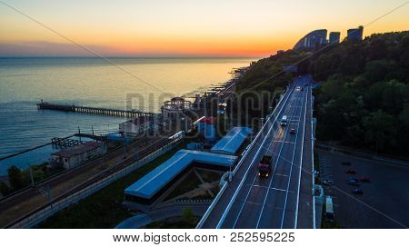Drone View Of The Seaside With The Matsesta Viaduct, The Matsesta Marine Station, The Railroad And T