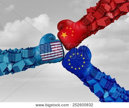 European China And American Trade Fight And Tariff War As A Chinese Europe Usa Economic Problem As C