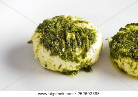 Cheese Platter, Variety Of Piedmont Italy Cheeses, Green Sauce.