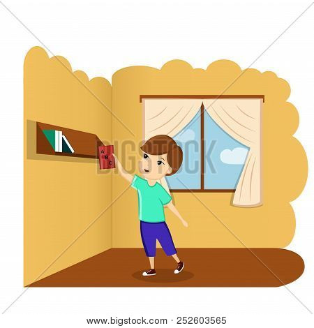 Boy With Book In Room, Illustration, Vector. A Child With A Book. First Day Of School, Back To Schoo