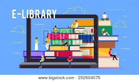 E-library. Concept Of Electronic Library Online. Young People Sitting On Piles Of Books. Template Ba
