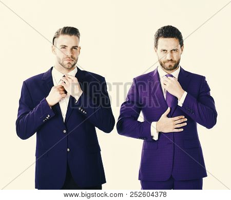 Businessmen Preparing Outfit And Moving Ties. Stylish Businessmen Concept. Businessmen With Serious