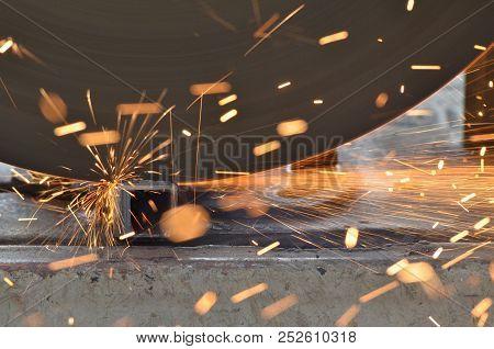 Blur Bokeh From Spark Stream When Steel Cutter Machine Cutting Iron Pipe, Sparkle Light, Sparkle Str