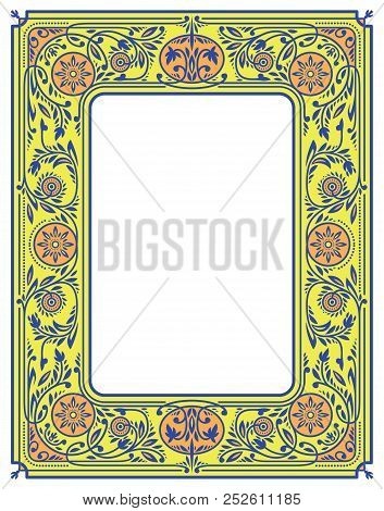 Yellow Floral Border Or Frame With White Blank Space In The Centre. Book Cover Template
