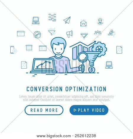 Conversion Optimization Concept With Thin Line Icons: Marketing, Customer Management, Seo Technology