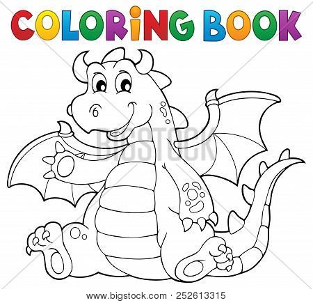 Coloring Book Dragon Theme Image 6 - Eps10 Vector Picture Illustration.