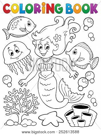 Coloring Book Mermaid Topic 2 - Eps10 Vector Picture Illustration.
