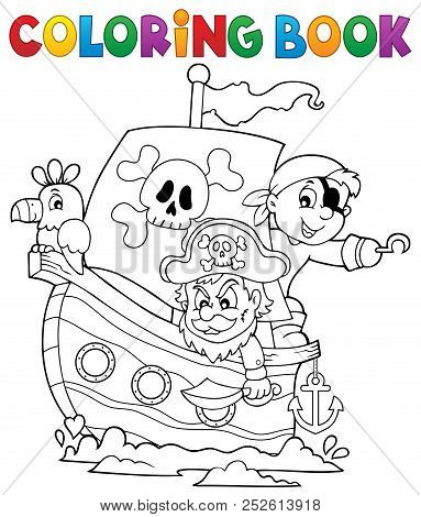 Coloring Book Pirate Boat Theme 1 - Eps10 Vector Picture Illustration.