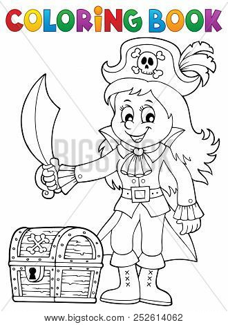 Coloring Book Pirate Girl Theme 1 - Eps10 Vector Picture Illustration.