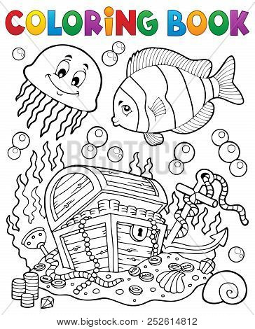Coloring Book Treasure Chest Underwater - Eps10 Vector Picture Illustration.