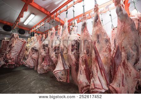 Butcher Cutting Pork Meat Food Industry Concept