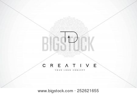 Td T D Logo Design With Black And White Creative Icon Text Letter Vector.