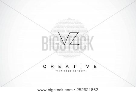 Vz V Z Logo Design With Black And White Creative Icon Text Letter Vector.