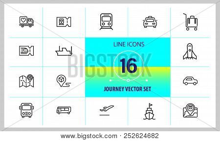 Journey Icons. Set Of Line Icons. Train, Bus, Plane. Journey Concept. Vector Illustration Can Be Use