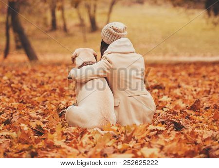 Mistress Hugging With Dog. Autumn Park. Beautiful Outdoors. Walking With Animals. Pets And People. L