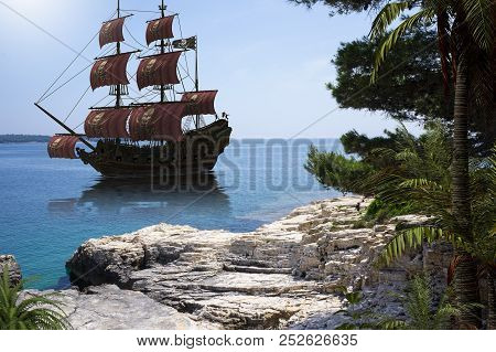 Vintage Pirate Ship To Go Anchor In A Natural Caribbean Harbor To Seek Refuge From British Warships,