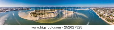 Aerial drone view of Pumicestone Passage, Bribie Island and Caloundra, Sunshine Coast, Queensland, Australia