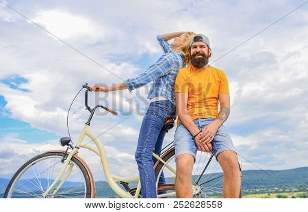 Bike Rental Or Bike Hire For Short Periods Of Time. Date Ideas. Couple With Bicycle Romantic Date Sk