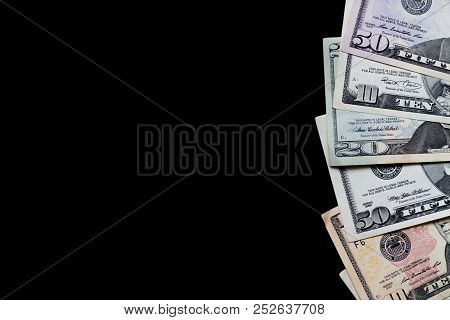 Us Dollar Foreign Currency Dolar On A Black Background