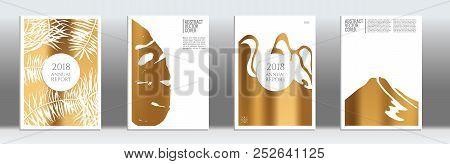 Golden Cover Set. Tropical Flyer On Light Background.  Fluid Poster Design.  Brochure Foil Design. G